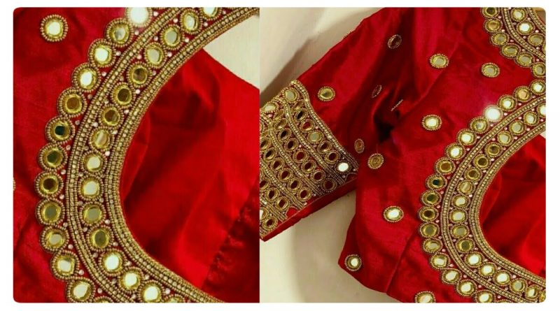 Mirror Work Blouse Designs With Normal Needle Stitch Blouse Designs