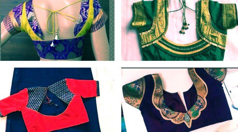 Patchwork blouse back neck designs for paithani sarees