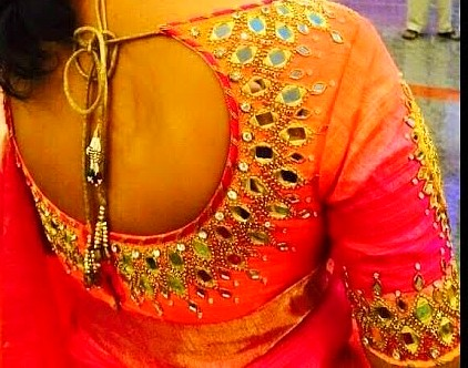 latest designer mirror work blouse designs