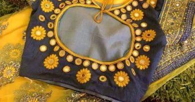 Latest designer mirror work blouse designs