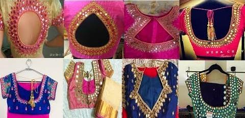 Latest Mirror work blouse designs designer