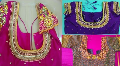 Simple and bridal maggam work blouse designs  – Blouse Designs