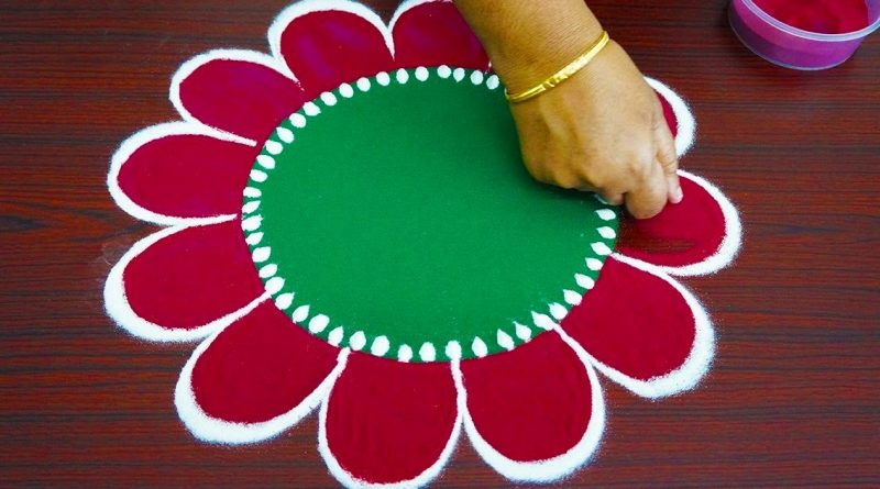 Beautiful simple freehand rangoli  – colour kolam with out dots – Rangoli Muggulu