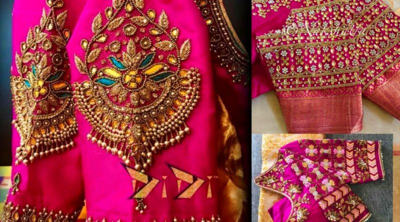 maggam work on pink blouses …super collection  – Blouse Designs