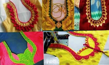Blouse back neck patchwork designs – Blouse designs