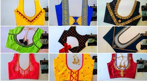 Latest blouse designs back side| Patch Work Blouse design  – Blouse Designs