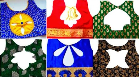 Beautiful Back Neck Patch Work Blouse Designs / cut work blouse designs – Blouse Designs