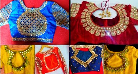 Latest party wear mirror work back neck blouse designs – Blouse Designs