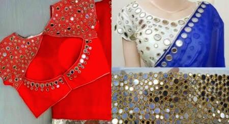 Party wear mirror work blouse designs|| hand embroidery mirror work blouse designs – Blouse Designs
