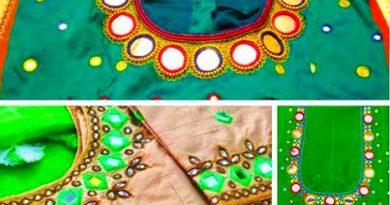 Popular Mirror Work Designs /  Aari Maggam Work Hand Embroidery Designs – Blouse Designs