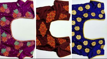 Simple Patch Work Blouse Back Neck Designs – Blouse Designs