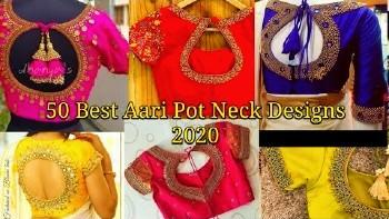50 Best Pot Neck Blouse Designs / Maggam Work Blouse Designs – Blouse Designs